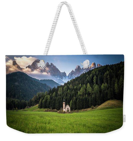 St. Johann Church In Val Di Funes Weekender Tote Bag