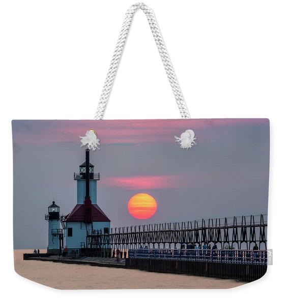 St. Joseph Lighthouse At Sunset Weekender Tote Bag