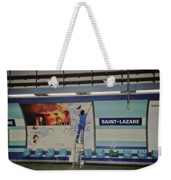 Weekender Tote Bag featuring the photograph St. Lazare Poster Hanger by Frank DiMarco