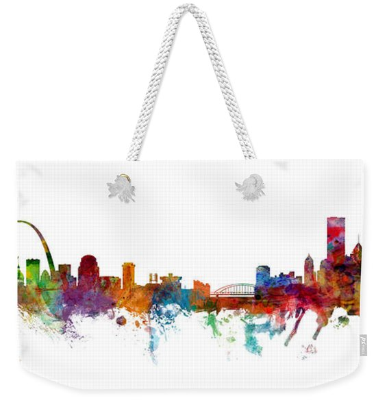 St Louis And Pittsburgh Skyline Mashup Weekender Tote Bag