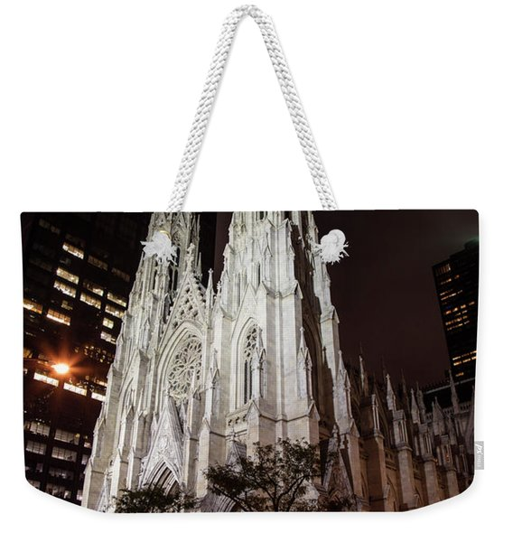 St Patrick Cathedral At Night Weekender Tote Bag