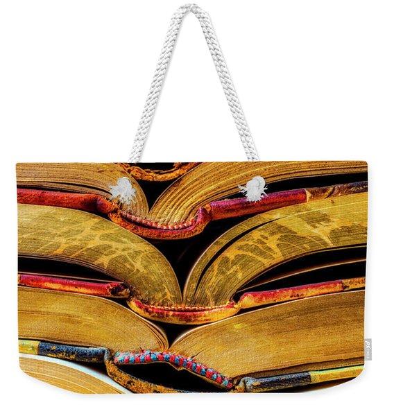 Stacked Book Spines Weekender Tote Bag