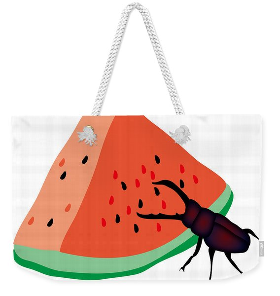 Stag Beetle Is Eating A Piece Of Red Watermelon Weekender Tote Bag