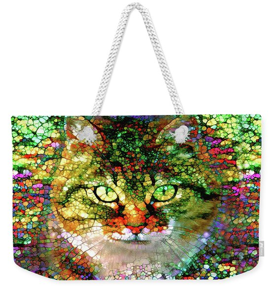 Stained Glass Cat Weekender Tote Bag