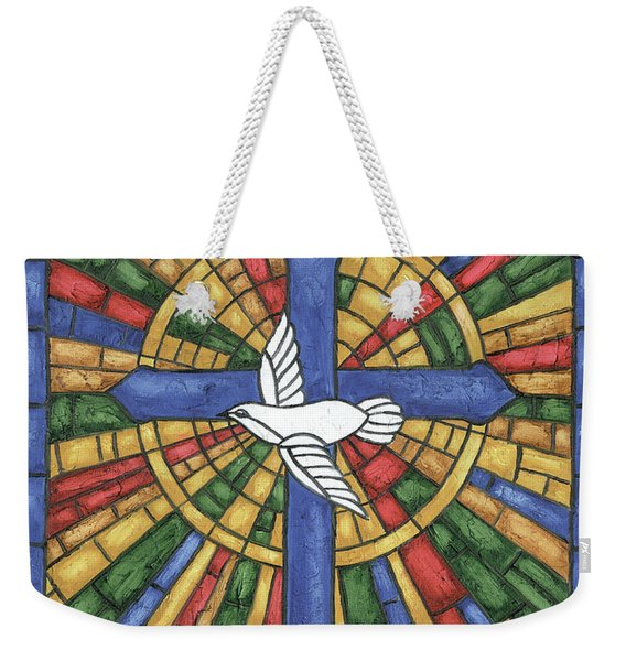 Stained Glass Cross Weekender Tote Bag