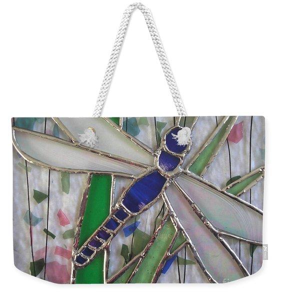 Stained Glass Dragonfly In Reeds By Karen J Jones Weekender Tote Bag