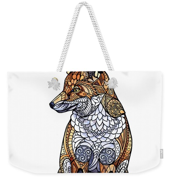 Weekender Tote Bag featuring the painting Stained Glass Fox by ZH Field