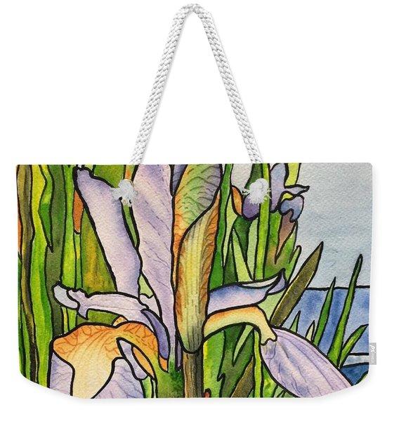 Stained Iris Weekender Tote Bag