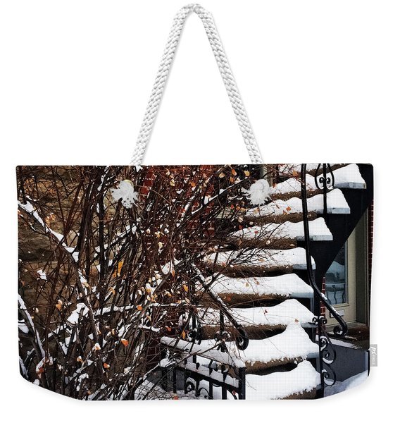 Staircase Covered By Snow Weekender Tote Bag