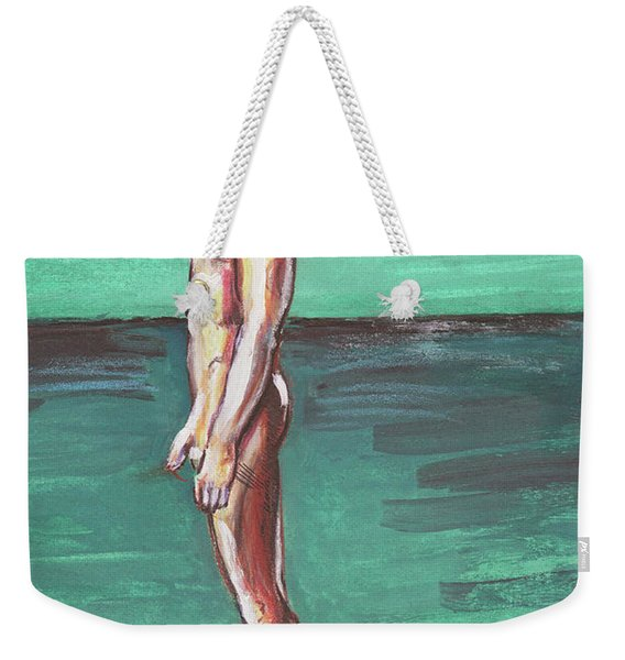 Standig On A Cold Beach With Hesitation  Weekender Tote Bag