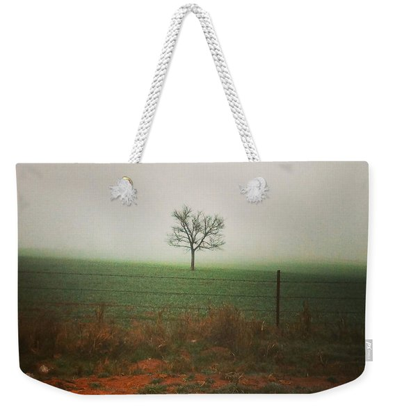Standing Alone, A Lone Tree In The Fog. Weekender Tote Bag