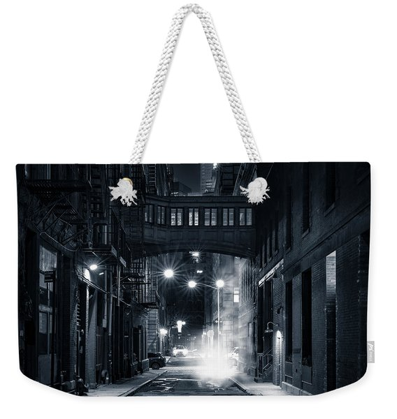 Weekender Tote Bag featuring the photograph Staple Street Skybridge By Night by Mihai Andritoiu