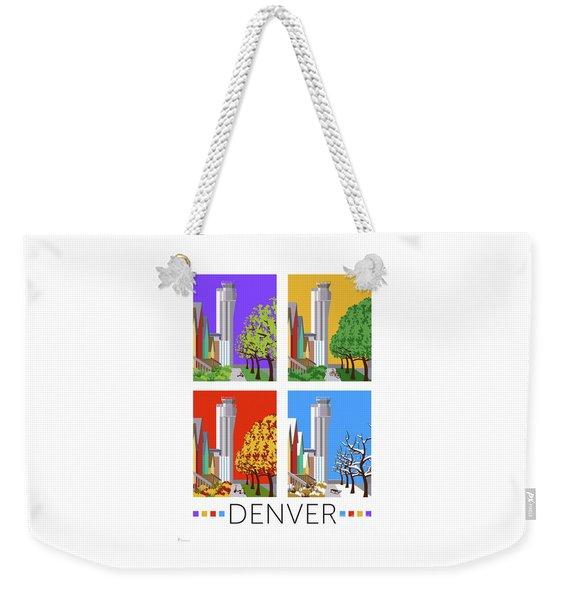 Weekender Tote Bag featuring the digital art Stapleton Four Seasons by Sam Brennan