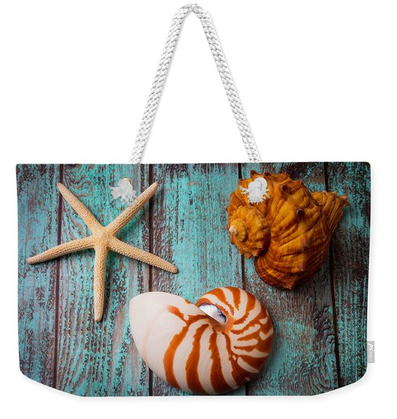 Star Shell Still Life Weekender Tote Bag