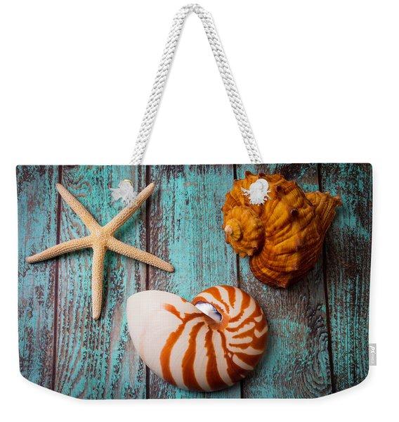 Star Shell Still Life Weekender Tote Bag