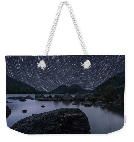 Star Trails Over Jordan Pond Weekender Tote Bag
