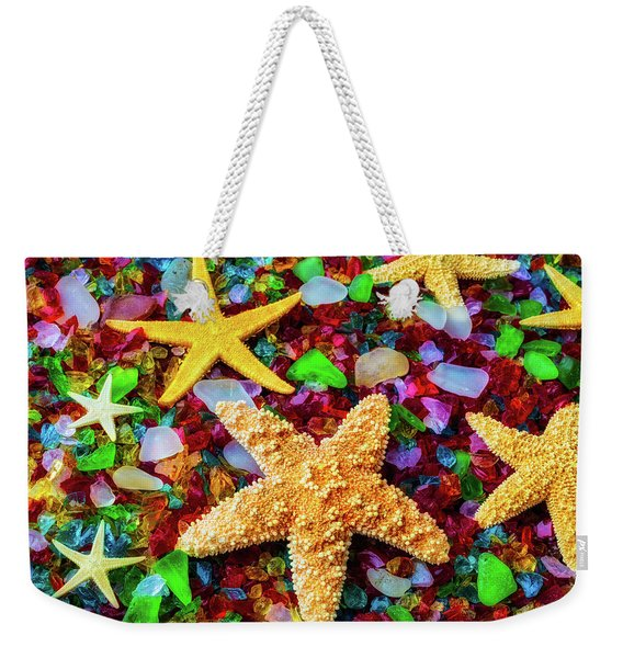 Starfish On Sea Glass Weekender Tote Bag