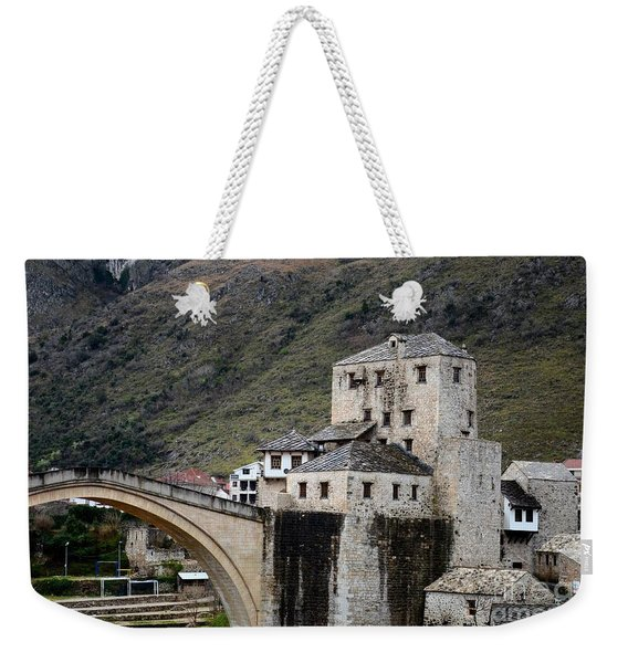 Stari Most Ottoman Bridge And Embankment Fortification Mostar Bosnia Herzegovina Weekender Tote Bag