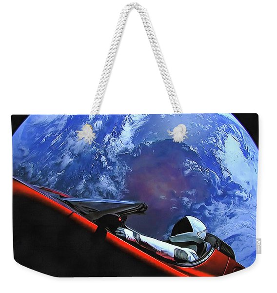 Starman In Tesla With Planet Earth Weekender Tote Bag