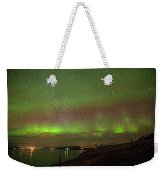 Stars And Northern Lights Weekender Tote Bag