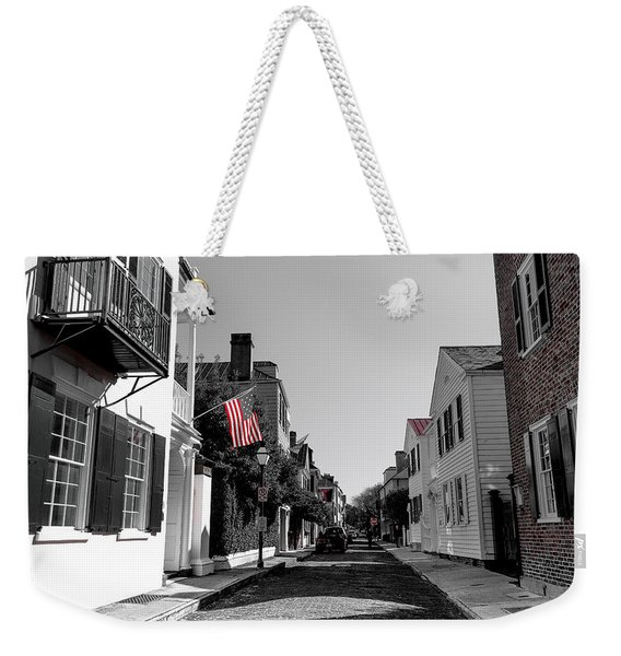Stars And Stripes- Church St Charleston Sc Weekender Tote Bag