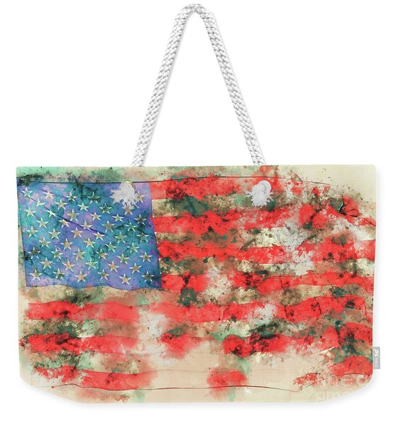Stars And Stripes Watercolor Weekender Tote Bag