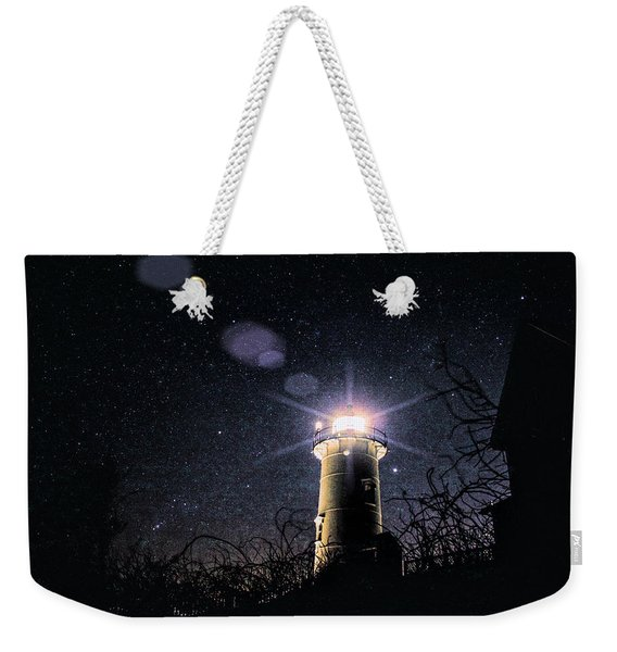 Weekender Tote Bag featuring the photograph Stars Over Nobska Lighthouse by Jeff Folger