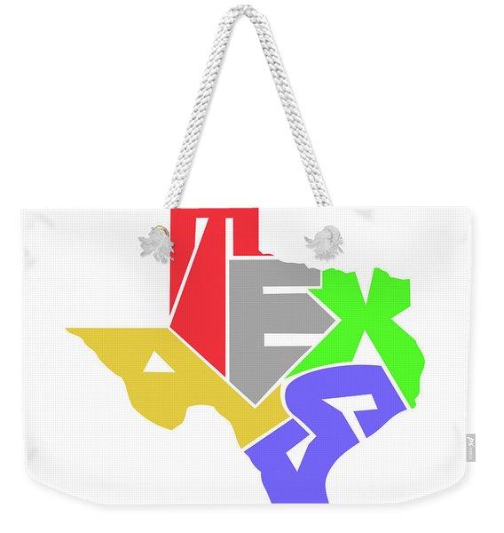 State Of Texas Typography Weekender Tote Bag