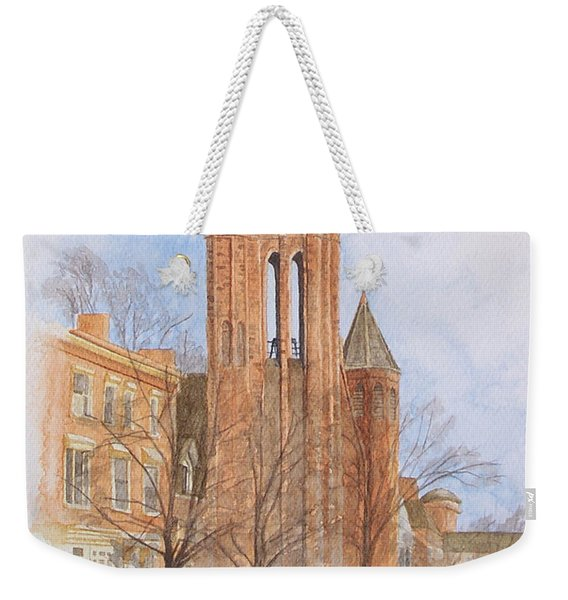Weekender Tote Bag featuring the painting State Street Church by Dominic White