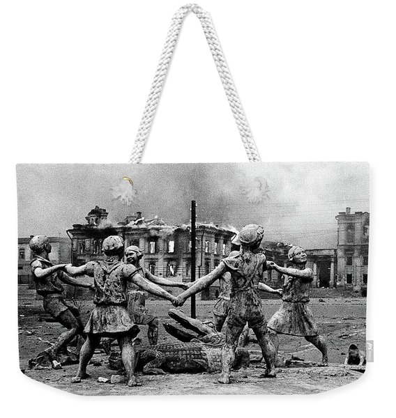 Statue Of Children After Nazi Airstrikes Center Of Stalingrad 1942 Weekender Tote Bag