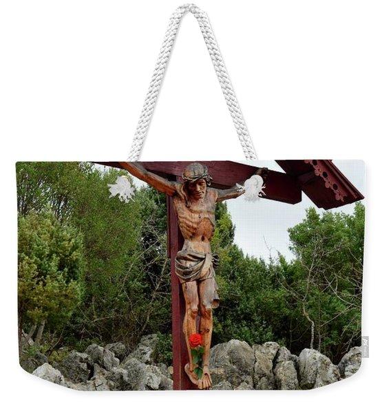Statue Of Christ On Cross At Medjugorje Pilgrim Site Bosnia Herzegovina Weekender Tote Bag