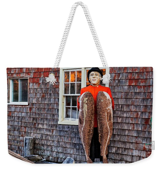Statue Of Fisherman Holding Cod Peggy's Cove Weekender Tote Bag
