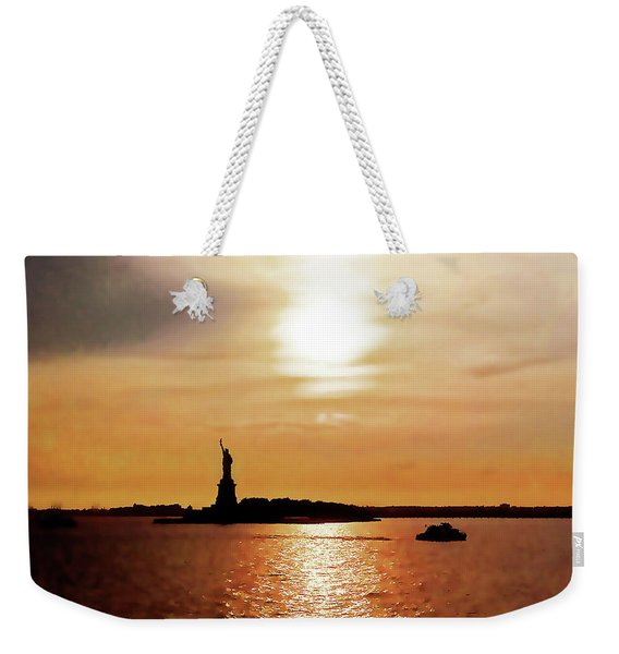 Statue Of Liberty At Sunset Weekender Tote Bag