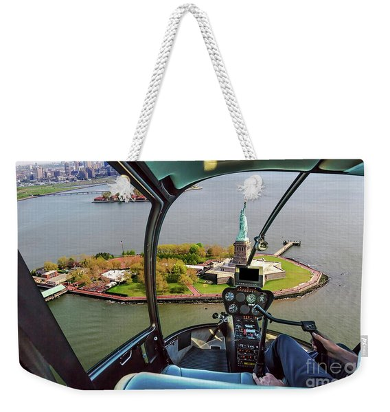 Statue Of Liberty Helicopter Weekender Tote Bag
