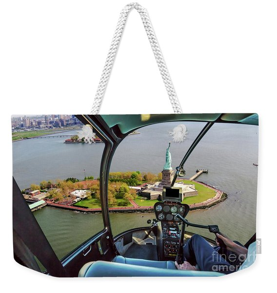 Weekender Tote Bag featuring the photograph Statue Of Liberty Helicopter by Benny Marty