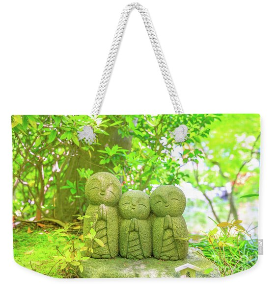 Weekender Tote Bag featuring the photograph Statues Of Jizo by Benny Marty