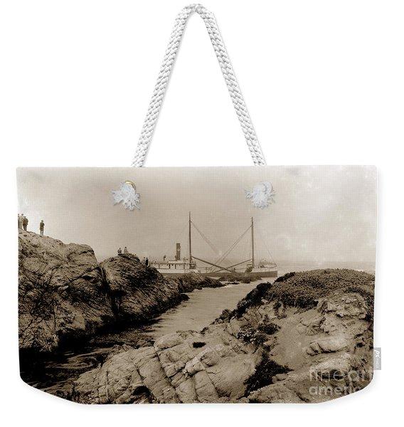Steam Schooner S S J. B. Stetson, Ran Aground At Cypress Point, Sep. 1934 Weekender Tote Bag