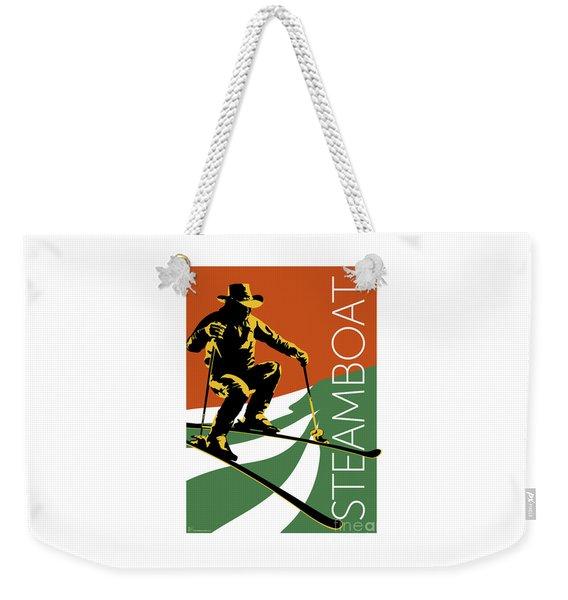 Weekender Tote Bag featuring the digital art Steamboat Orange by Sam Brennan