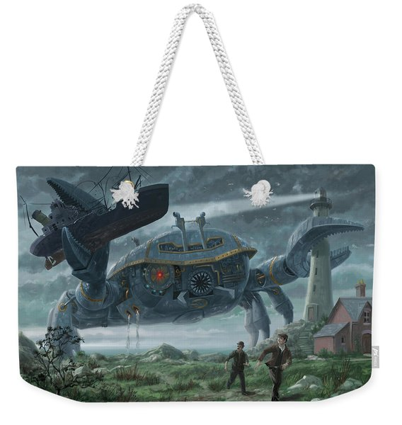 Steampunk Giant Crab Attacks Lighthouse Weekender Tote Bag