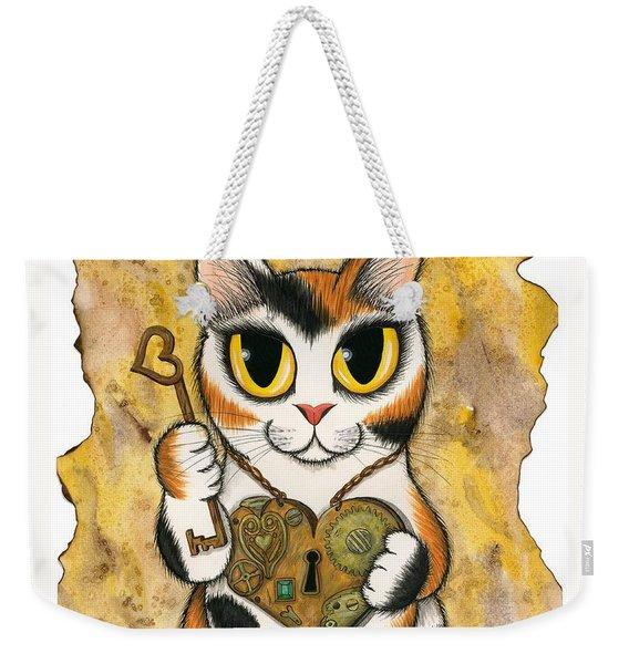 Steampunk Valentine Cat Weekender Tote Bag