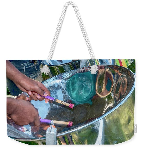 Weekender Tote Bag featuring the photograph Steel Pan by Rachel Lee Young