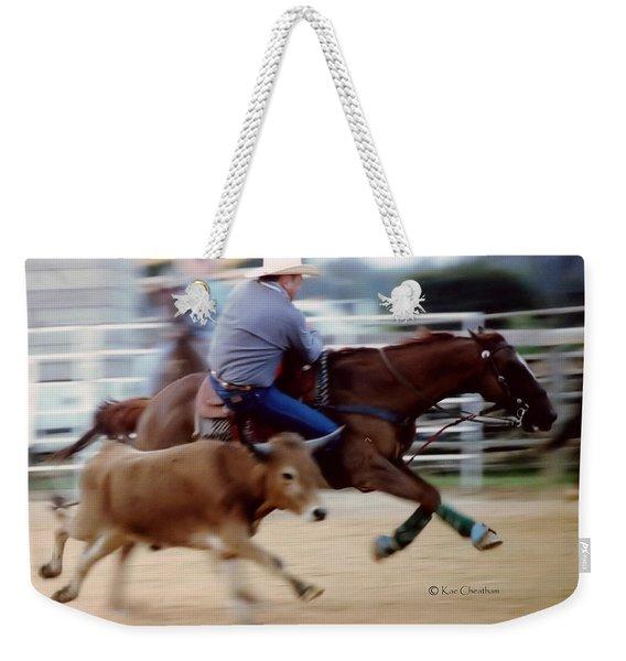 Steer Wrestling Dilemma Weekender Tote Bag