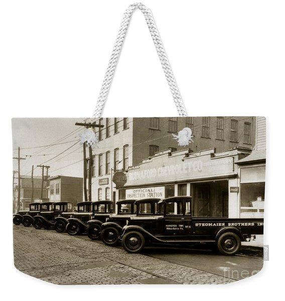 Stegmaier Brothers Inc Beer Trucks At 693 Hazle Ave Wilkes Barre Pa 1930s Weekender Tote Bag