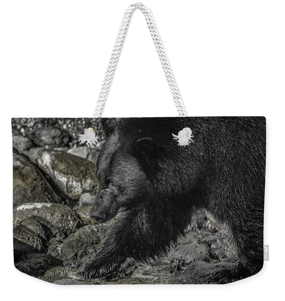 Stepping Into The Creek Black Bear Weekender Tote Bag