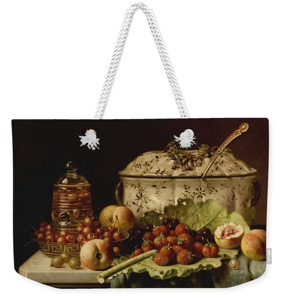 Still Life  Fruit And Dishes  Late 19th Century Oil On Panel Gottfried Schultz  German  1842  1919 Weekender Tote Bag