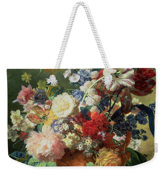 Still Life Of Flowers And A Bird's Nest On A Pedestal  Weekender Tote Bag