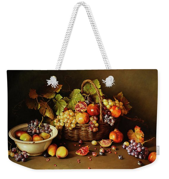 Still Life With Basket And Pomegranate Weekender Tote Bag