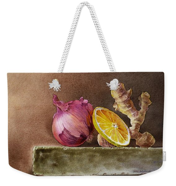 Still Life With Onion Lemon And Ginger Weekender Tote Bag