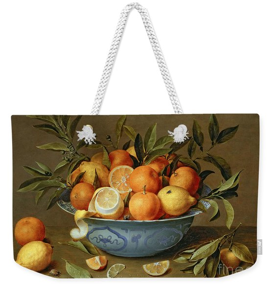 Still Life With Oranges And Lemons In A Wan-li Porcelain Dish  Weekender Tote Bag
