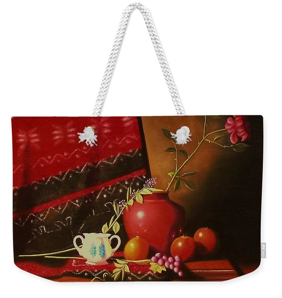 Still Life With Red Vase. Weekender Tote Bag